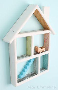 DIY Dollhouse Shelf Redo by dearemmeline: So sweet! #DIY #Dollhouse