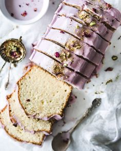 Recipe for an easy almond loaf cake made with sour cream and buttermilk and drizzled with a lemon hibiscus glaze. Hibiscus Recipe, Milk And Vinegar, Best Cake Recipes, Favorite Recipes, Loaf Cake, Glaze Recipe, Cake Flour, Homemade Cakes, Sweet Bread