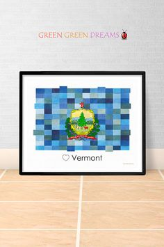 Vermont Flag Print Poster Wall art Vermont US State flags Vermont VT printable download Home Decor Digital Print gift GreenGreenDreams