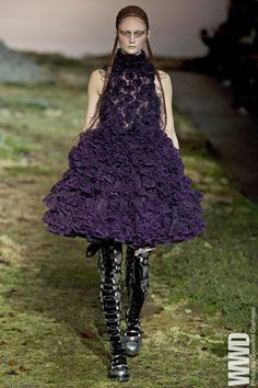 "Model Call: Sophie Touchet At Alexander McQueen: ""The dress was just amazing. It was one of the favorite looks that I had — it was almost like 'Alice in Wonderland.' Although the boots were hard to walk in."" For the full interview"