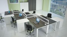 Neat office furniture arrangement