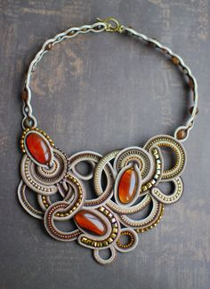 Soutache statement necklace, Brown, gold and beige necklace with agate, Beaded necklace, Embroidered necklace Soutache jewelry FREE SHIPPING