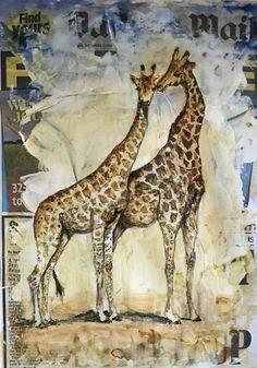 Tall Tales (mixed media) Tall Tales, Giraffe, Mixed Media, Painting, Animals, Animales, Felt Giraffe, Animaux, Painting Art
