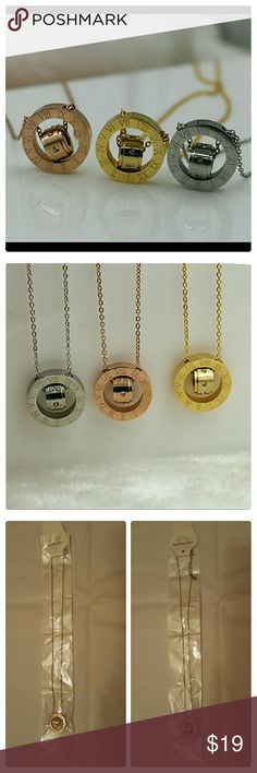 JUST IN: Roman Numeral crystal necklace Stainless steel pendant with roman numerals and inner crystal circle. Choose from silver or rose gold colors. Pendant: 2 cm. Chain aprox : 18 in.  ***Only 1 available in each color*** Jewelry Necklaces