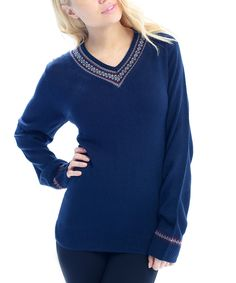 Love this Navy Fair Isle V-Neck Sweater by  on #zulily! #zulilyfinds