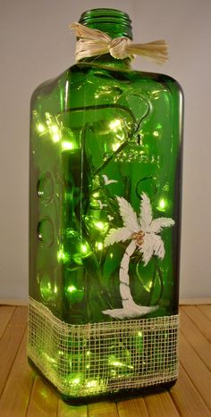 Recycled Handpainted Green Glass Bottle Lamp with by EcoArtbyNancy, $26.00