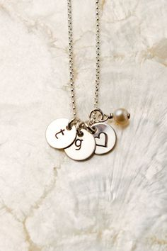 Three Tiny Initial Necklace Children's Necklace by therhouse, $32.00