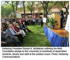 Kettering President Robert K. McMahan outlining the Mott Foundation pledge to the University to hundreds of assembled students, faculty and staff at the outdoor event. We're on the path to great things: www.kettering.edu/news/15.5-million-pledge