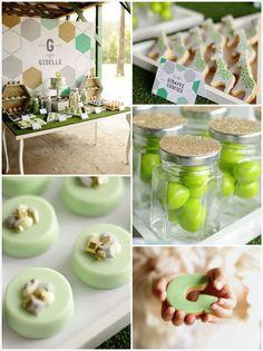 GORGEOUS Geometric Green, Gold, and Grey Themed Birthday Party with So Many Fabulous Ideas via Kara's Party Ideas Kara Allen KarasPartyIdeas.com #gold #goldparty #geometric