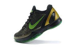 Nike Zoom Kobe VI Womens Basketball Shoes - Black/Green/Gold For $68.90 Go To:  http://www.cheapkobeshoesmall.com
