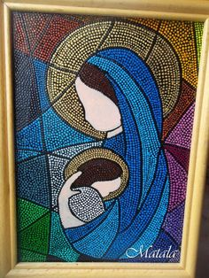 Glass picture  Dot art Mother & baby Dot painting от DotslandUA Puntillismo, dot to dot, point to point #artpainting