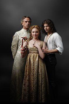 The Pope (Jeremy Irons), Lucretzia Borgia (Holliday Grainger) and Cesare Borgia (Franois Arnaud) in The Borgias.
