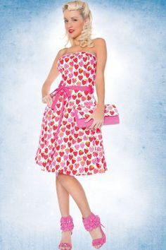 Strawberry Strapless Retro Dress by Folter
