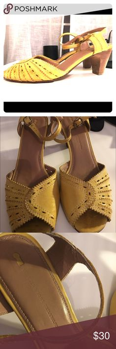 Schuyler and Sons Philadelphia Yellow Heels Yellow, Schuler and Sons Philadelphia peep toe sandals. Size 9 1/2 B. Leather. 2 1/2 inch heel. Schuler and Sons Shoes Heels