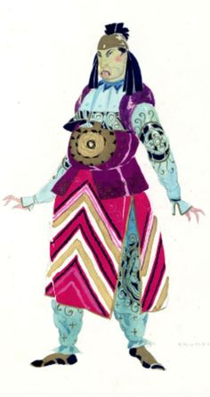 Umberto Brunelleschi (1879 -1949, Italy), 1926, Servi portanti ricchi doni, Costume Design for Turandot Opera by Giacomo Puccini, Teatro dell'Opera, Roma, Pencil, Tempera.