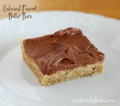 This is the best recipe for oatmeal peanut butter bars that I have ever tasted. They are topped with a layer of peanut butter, then chocolate frosting. Heavenly!