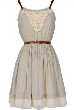 Country Whimsy Leather Belted Dress In Pale Grey