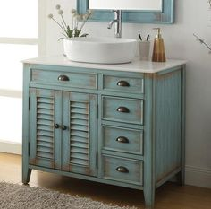 "38"" Benton Collection Distress Blue Abbeville Vessel sink Bathroom Vanity CF-78886BU"