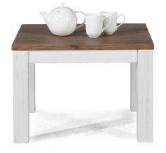 Couchtisch Olympia weiß/braun Akazie massiv Holz Wohnzimmertisch Beistelltisch