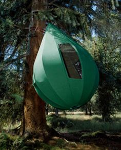 Luxury retailer Neiman Marcus sells this wacky $50,000 tent that hangs in a tree.  Um, how do you get it in the tree, then how do you get in it????