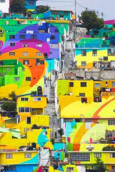 germen palmitas tripulación México arco iris pintado mural