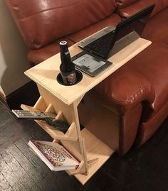 Unfinished Couch Tray Table, Couch End Table Sofa Tray Table Sofa Arm Table Couch Arm Table C Table serving tray table wooden tray table - Tisch ideen Couch Tray, Sofa Arm Table, C Table, Wood Table, Swivel Chair, Easy Woodworking Projects, Diy Wood Projects, Wood Crafts, Woodworking Plans