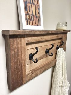 Rustic Wooden Entryway Walnut Coat Rack by cherrytreegallery