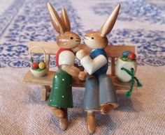 Easter Rabbits bringing Eggs are a very German tradition. The Erzebirge Mountains in Germany are famous for their beautiful seasonal Wood Carvings, so Easter Time, the carvings are of der Osterhase… the Easter Bunny!.