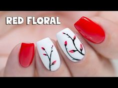 EASY GEL NAILS - Soft Red Floral - YouTube