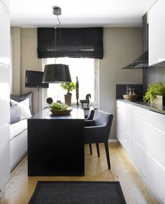 dining in the kitchen //  Sköna Hem  love the feel, yet would need a wider space for function by cooktop and pullout chairs.