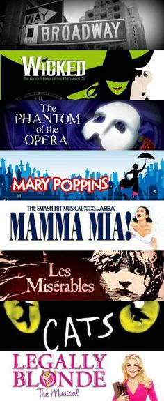 Have u seen at least one musical.(ive seen 3 wicked,mama mia and les miserables Broadway Wicked, Musical Theatre Broadway, Broadway Plays, Music Theater, Broadway Nyc, Musicals Broadway, Broadway Posters, Broadway Party, Wicked Musical