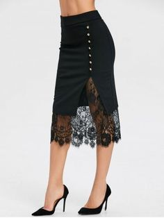 Buy Oblique Button Midi Lace Slit Skirt, sale ends soon. Be inspired: discover affordable quality shopping on Gearbest Mobile! Black Midi Skirt, Slit Skirt, Lace Skirt, Embellished Skirt, Skirts For Sale, Ladies Dress Design, Skirt Outfits, Plus Size Outfits, Fashion Dresses
