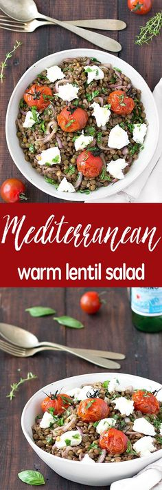Mediterranean warm lentil salad - a simple, healthy, vegetarian, naturally gluten-free and tasty salad.