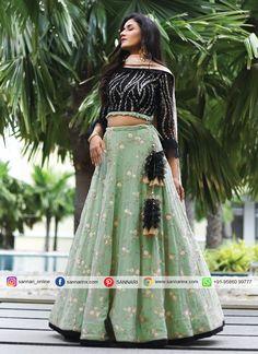 Patiala Suit Designs, Silk Saree Blouse Designs, Choli Designs, Lehenga Designs, Floral Lehenga, Green Lehenga, Lehenga Choli, Sharara, Net Saree