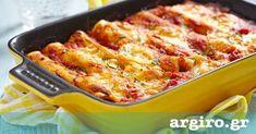 Αλμυρές κρέπες στο φούρνο με σάλτσα ντομάτας και σάλτσα τυριού από την Αργυρώ Μπαρμπαρίγου | Λαχταριστές κρέπες γεμιστές με σπανάκι, μανιτάρια και μπέικον