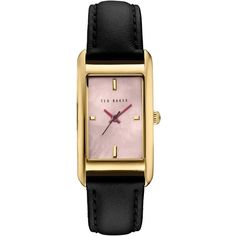 Ted Baker Women's Bliss Rectangular Leather Strap Watch , Black/Rose (67 BHD) ❤ liked on Polyvore featuring jewelry, watches, rectangular wrist watch, ted baker, rose jewellery, pin jewelry and leather strap watches