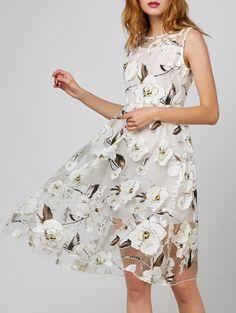 Floral Print Organza Dress With Belt - WHITE XL