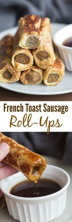 Easy to make and fun to eat these French Toast Sausage Roll-Ups. Easy to make and fun to eat these French Toast Sausage Roll-Ups are always popular with my family. A twist on traditional french toast. Breakfast And Brunch, Breakfast Dishes, Brunch Food, Breakfast Casserole, Healthy Brunch, Breakfast Healthy, Morning Breakfast, Sausage Casserole, Fun Breakfast Ideas