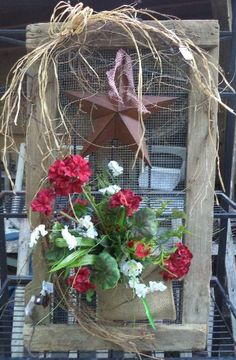 Old screen with star, grapevine, basket and lights