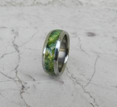 Titanium Wood Ring Green Lantern Box Elder Burl Wooden Band Mens Or Ladies…