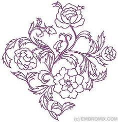 Flowers and Nature - Redwork Floral Motifs - Floral Pattern ...