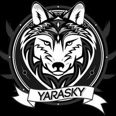Hier zie je yarasky logo het. Bevat  een  hond en de kleuren zijn zwart en wit