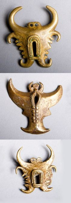 Indonesia - Central Sulawesi | three 'taiganja' pendants; brass, lost wax cast. | 150€ ~ sold (Mar '14)