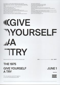 Give Yourself a Try - The 1975 Room Posters, Band Posters, Poster Wall, Poster Prints, Type Posters, The 1975 Quotes, The 1975 Songs, The 1975 Lyrics, Free Prints