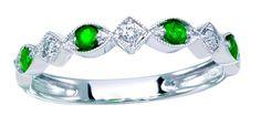 10K White Gold Ring - Emerald & Diamond - 0.24 twt - $249
