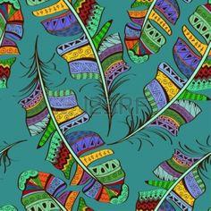 Patrón transparente de coloridas plumas de aves ornamentales tribales sobre fondo azul photo
