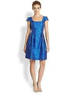Kay Unger Metallic Dot Jacquard Dress