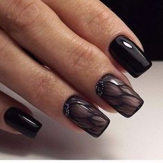 Matte Black and Tribal inspired Nail Art. You can have this amazing bold black matte nail color on your nails with the spark of tribal design and patterns along with some tweak of French tip for the dramatic effect.