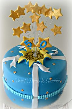 50th birthday cake - blue and gold to celebrate a golden birthday celebration!