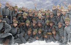 Frankreich, Winter 1914-15. Soldaten des 9. Rheinisches Infanterie Regiment Nr. 160 lassen sich während eine Pause im Schnee fotografieren.